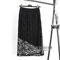两面穿针织蕾丝半身裙一步裙女秋冬季中长款不规则包臀裙毛线裙子 均码【适合80-130斤】