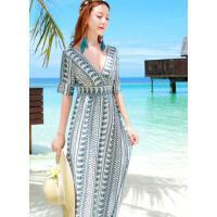 复古小香风V领  新款 高腰性感长裙修身显瘦海边度假沙滩裙连衣裙女   支持礼品卡