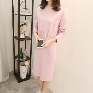 2018春秋韩版新款收腰针织衫连衣裙