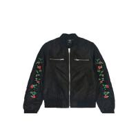 BURANDOENO潮牌女式棉服字母玫瑰刺绣外套短款时尚夹克E7FAW12003