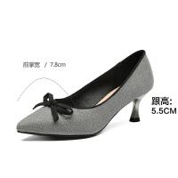 2019珂卡芙新款【丝带蝴蝶结】时尚亮片尖头舒适高跟鞋女单鞋