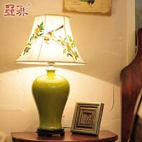 墨菲景德镇单色釉陶瓷台灯手绘欧式卧室床头创意简约现代客厅灯具