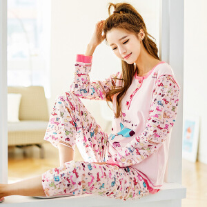 雪俐春夏季女士针织棉长袖短袖可爱睡衣家居服