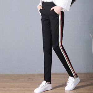 黑色九分裤女裤子2017新款高腰宽松两条杠运动裤女韩版学生铅笔裤