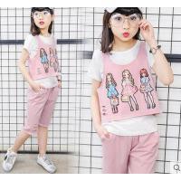 短袖三件套装童装女童韩版时尚儿童运动户外新款大童12岁女孩15潮