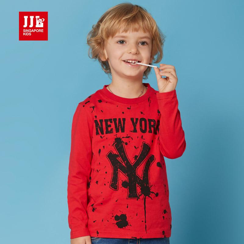 jjlkids季季乐童装男童长袖t春秋季打底衫儿童上衣男中童棉T恤BCT63042