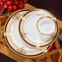 碗碟套�b 家用景德�陶瓷餐具套�b 骨瓷碗�P�W式中式碗筷�M合*