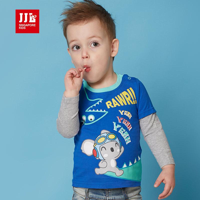 jjlkids季季乐童装春秋季男童长袖T恤小童舒适拼接长袖圆领T恤PBCT61045