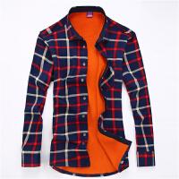 秋冬季男士长袖保暖衬衫男加厚中年商务男装加绒寸衫大码格子衬衣