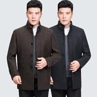 【买了都说好】 冬季中年男士立领毛呢大衣加棉加厚中长款冬装呢子外套中老年男装