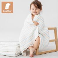 威尔贝鲁 纯棉8层婴儿纱布浴巾 吸水加大宝宝新生儿童毛巾被柔顺