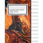 预订 Manu* Paper Notebook: Bright Orange Lava Cover, 12 Staff