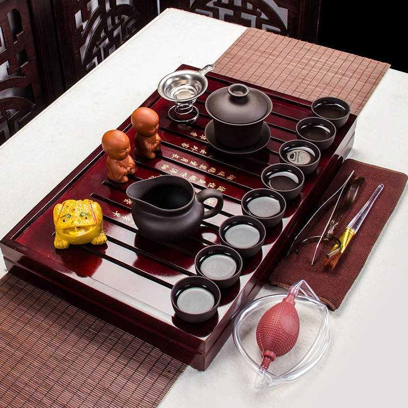 功夫茶具套装家用整套简约实木茶盘茶壶全黑紫砂茶博士套装 全黑紫砂壶