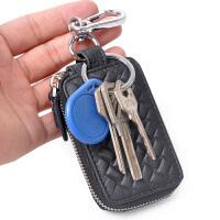 Yvonge韵歌牛皮压编织钥匙包软皮男式真皮汽车钥匙包车钥匙套男士拉链锁匙包