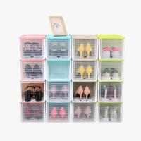【618年中庆,每满100减50】当当优品 高跟鞋收纳盒 滑盖抽屉式塑料防潮加厚透明鞋盒 4个装 颜色多选
