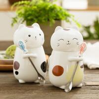 马克杯 萌立体动物猫咪可爱陶瓷随手水杯情侣创意大容量带盖勺子咖啡杯子