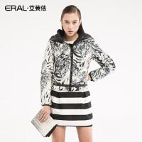 ERAL/艾莱依短款豹纹印染羽绒服休闲羽绒衣外套女连帽2039B