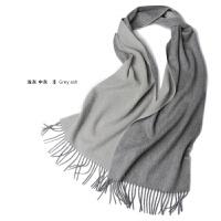 秋冬季羊绒围巾女纯色双面加厚围脖羊绒水波纹男女通用