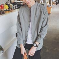 春季新款男士修身个性小清新长袖衬衫外套韩版潮流学生帅气打底衫
