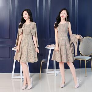 新款韩版时尚百搭潮流简约修身显瘦中长款两件套连衣裙女