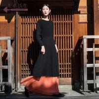 生活在左2018新款秋季女士复古文艺纯羊毛针织修身连衣裙收腰长裙