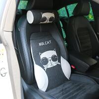 卡通夏季汽车靠垫腰垫护腰护颈枕靠枕套装记忆棉透气靠背车用腰靠