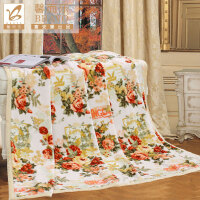 富安娜家纺 馨而乐丰盈柔软法兰毛毯办公室午睡盖毯 悠享漫时光