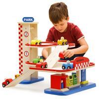 小硕士 积木拼装木质玩具儿童汽车多层益智停车场模型轨道车男孩生日礼物