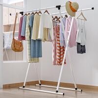 索尔诺 衣架落地折叠室内双杆式阳台挂衣伸缩晾衣杆简易晒衣架子