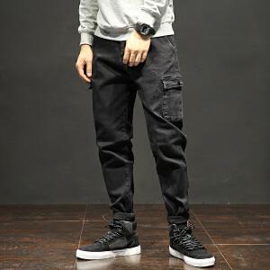 哈伦裤男秋季黑色牛仔裤宽松青少年小脚裤加肥加大码长裤胖子潮流