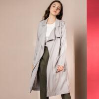 新女士外套�_衫薄�L衣2018秋冬新款女�b�W美中�L款�L衣外套大衣 灰色 X