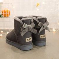 蝴蝶结雪地靴女冬季短筒保暖加绒短靴子女士学生秋冬女鞋 35 标准码