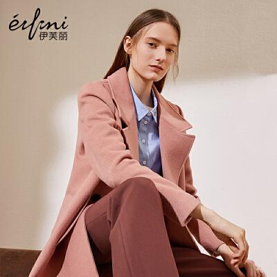 2件4折 伊芙丽冬装韩版新款纯色简约呢大衣西装领长袖宽松毛呢外套女