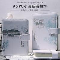 【单件包邮】创意小清新PU皮面A6精装磁扣手账本学生笔记本彩页加厚记事本子