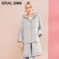 ERAL/艾莱依2018冬季新款轻薄羽绒服女休闲连帽羽绒大衣617104154