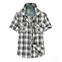 夏装薄款战地吉普AFSJEEP纯棉短袖格子衬衫 8628男士半袖衬衫大码男衬衣