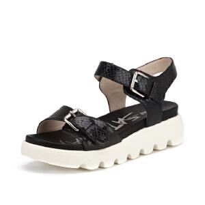 【3折到手价149.7元】St&Sat/星期六猪皮尖圆头中跟搭扣松糕鞋凉鞋女SS62118183