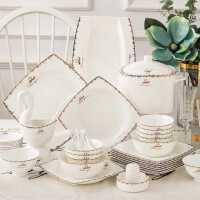 景唐 骨瓷碗碟套�b 家用景德�陶瓷餐具��意��s�W式碗�P子�M合