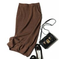 纯山羊绒半身裙子中长款针织毛衣修身弹力高腰铅笔裙包臀文艺休闲