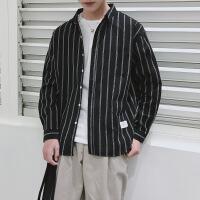 打底衬衫男韩版潮流时尚内搭学生青少年条纹长袖上衣春秋外套
