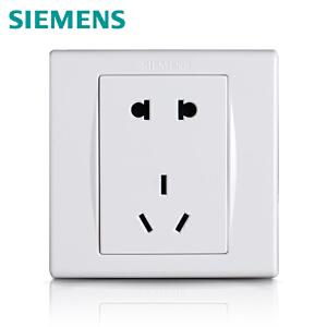 西门子开关插座品宜雅白10A五孔电源插座面板