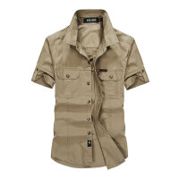 663夏装新款战地吉普AFS JEEP纯棉短袖男衬衫 尖领宽松休闲半袖男
