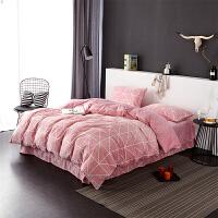 当当优品暖绒四件套 抗静电加厚细密保暖床品 双人1.5米床 桃粉
