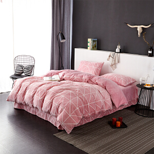 暖绒四件套 抗静电加厚细密保暖床品 双人1.5米床 桃粉