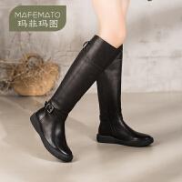 玛菲玛图2020秋冬新款女靴欧美平底骑士靴复古侧拉链平底扣真皮长靴女2213-18DL