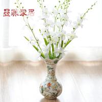 墨菲 欧式花瓶陶瓷客厅摆件现代简约装饰花仿真花兰花花艺套装