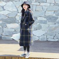 2018流行韩国秋冬新款格子森系毛呢外套女中长学生赫本风反季大衣S17R1331 绿色格子
