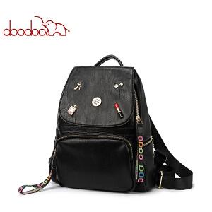 doodoo双肩包女2018春夏新品大容量休闲旅行包韩版时尚包包女背包D7143