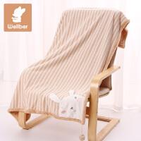 威尔贝鲁 珊瑚绒婴儿盖毯 秋冬宝宝毯子 加厚加大新生儿童毛毯