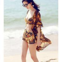 沙滩度假分体比基尼 泳衣女三件套 大胸小胸聚拢性感防晒罩衫 支持礼品卡